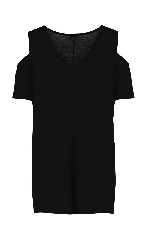 en cuello manga negro Top V con hombros de corta y descubiertos T8Fq0w4