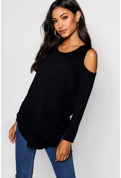 Womens Black Long Sleeve Cold Shoulder Top