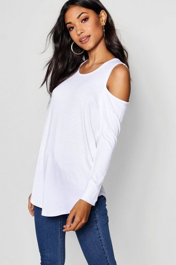 Womens White Long Sleeve Cold Shoulder Top