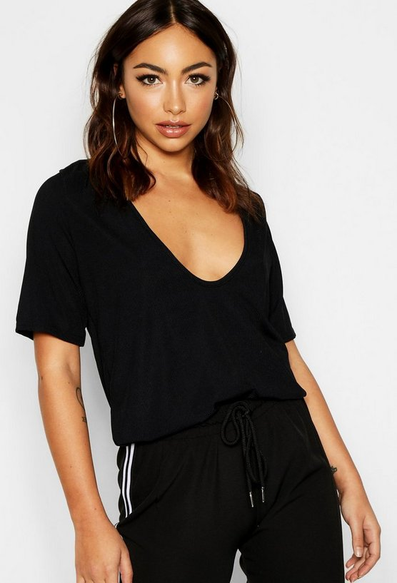 Black Basic Rib Deep Plunge T-Shirt