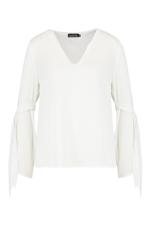 blanco manga cuello Blusa V con acampanada y en np50xS0wq
