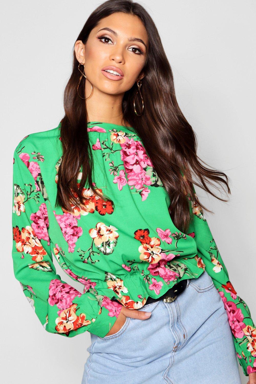 Blusa floreali peplo con motivi a rqxTrPHw