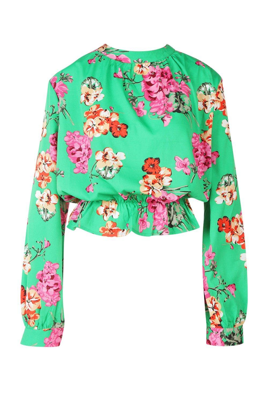 a con floreali Blusa peplo motivi FWHXwcYq