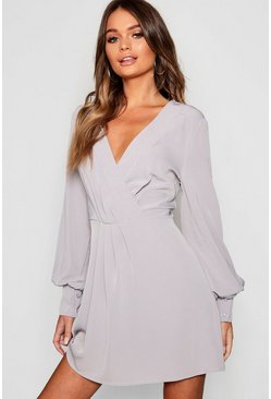 Womens Grey Wrap Blouson Skater Dress