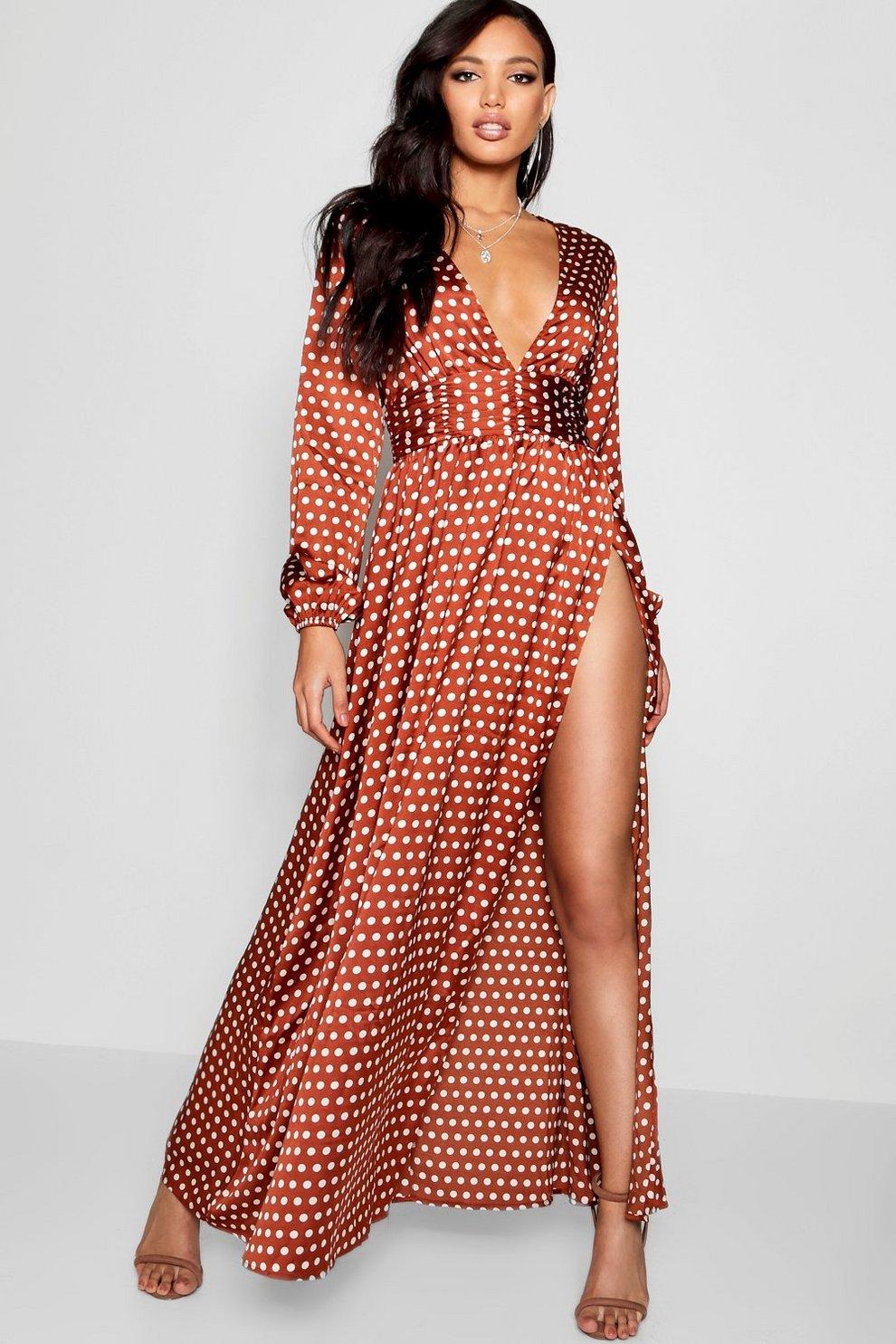 e8d7cd9525a9cc Polka Dot Plunge Neck Maxi Dress