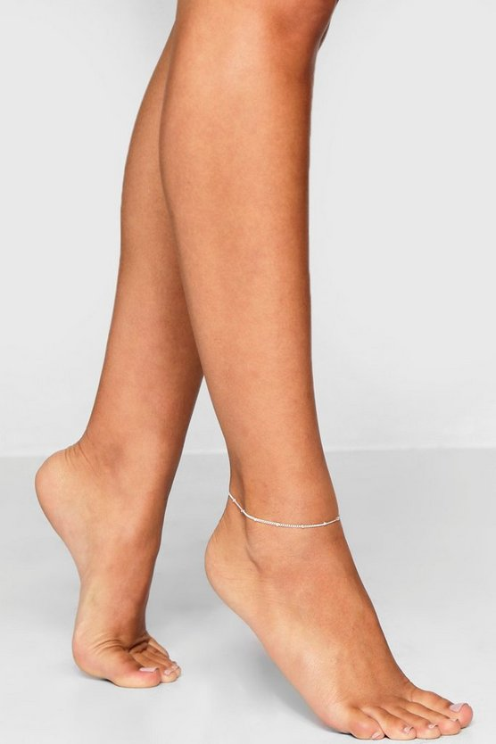 Womens Silver Simple Chain Anklet