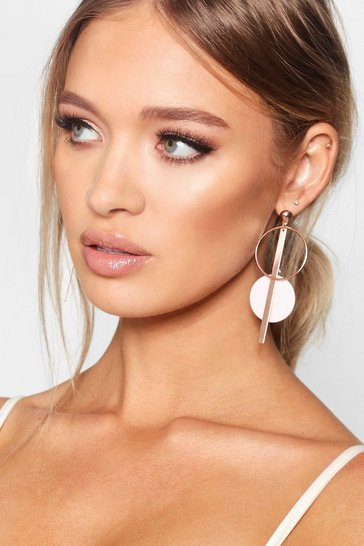Womens Rose gold Pink Contrast Double Circle Earrings