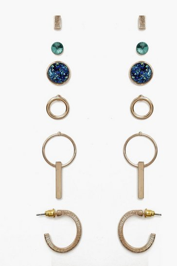 Womens Multi Mixed Stone & Hoop Earring Pack
