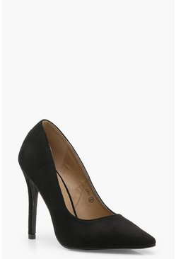 Womens Black Stiletto Court Shoes