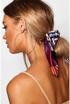 Womens Multi Colourblock Stripe Scarf Hair Tie