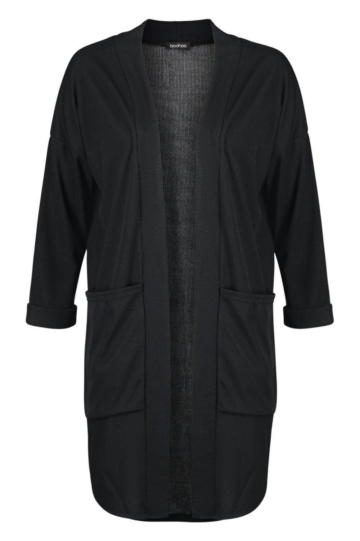 bolsillo Kimono negro en con canalé CTnwq0z