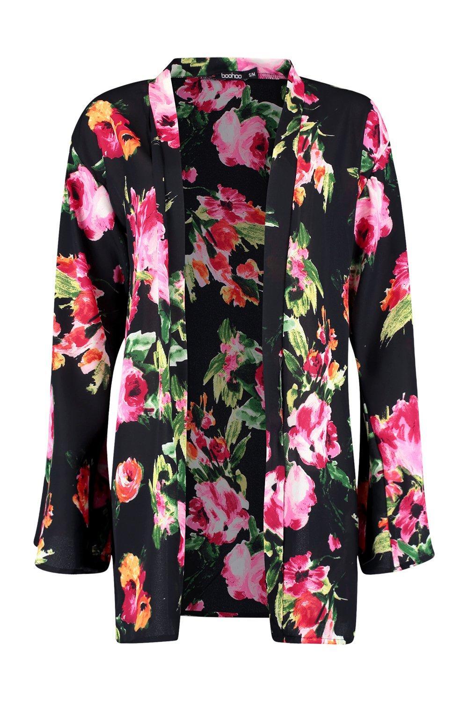 floral Kimono manga con estampado de ancha negro RCR1O