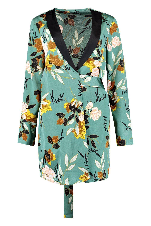 Abito in raso portafoglio blazer a stile floreale 1rH7B1PW