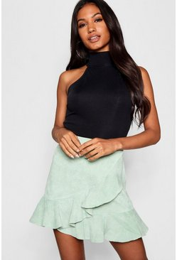 Womens Sage Wrap Ruffle Cord Mini Skirt