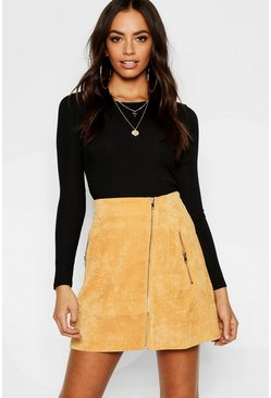 Womens Mustard Zip Front Cord A Line Mini Skirt
