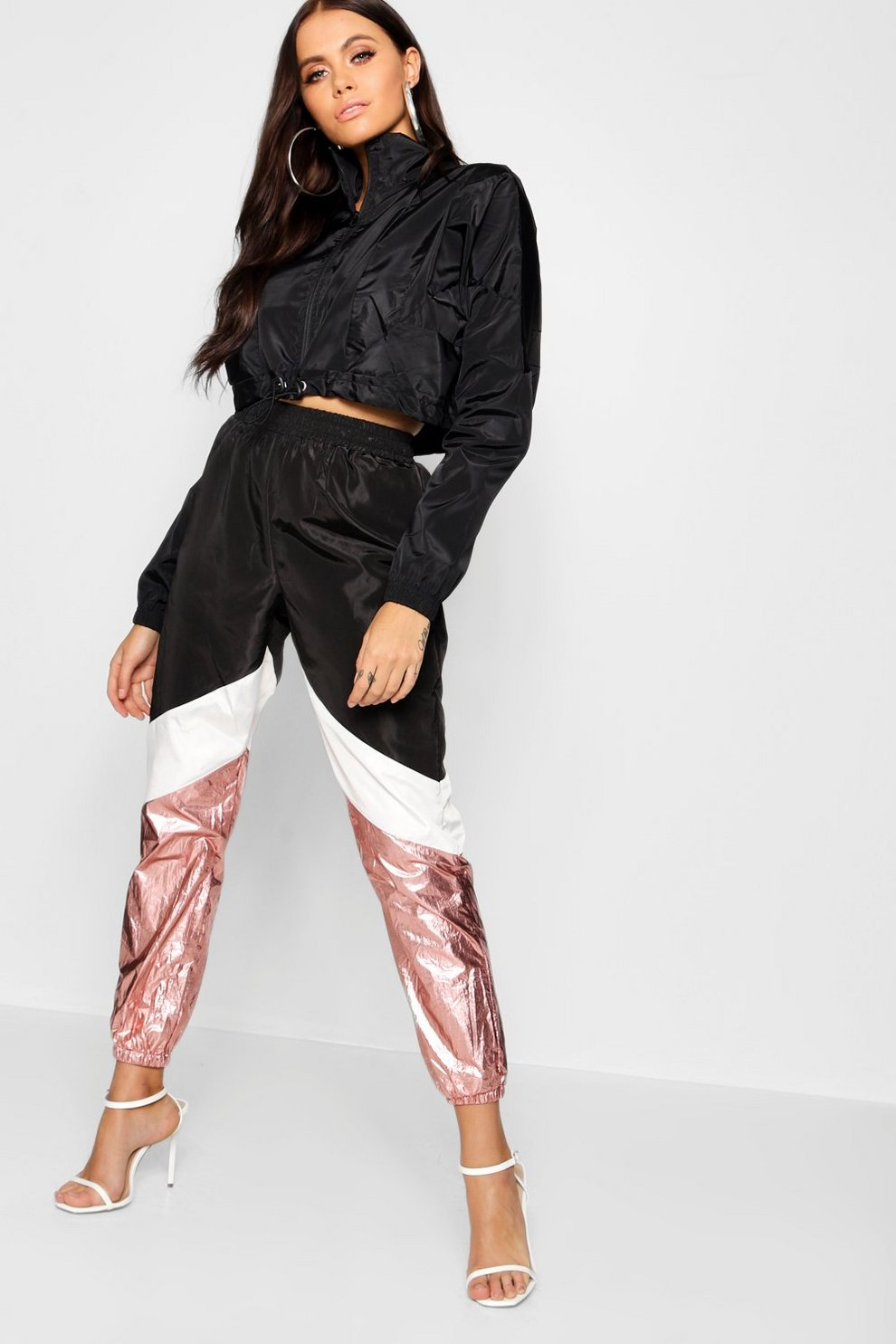 f60ab4d8158d Panelled Metallic Shell Suit Trousers | Boohoo