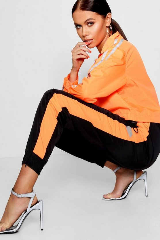 Womens Neon-orange Shell Suit Jogger