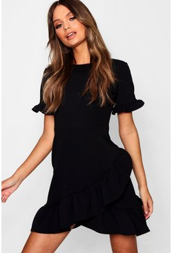 Womens Black Asymmetric Ruffle Hem Shift Dress