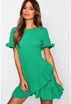 Womens Green Asymmetric Ruffle Hem Shift Dress
