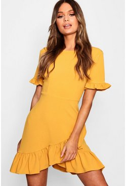 Womens Mustard Asymmetric Ruffle Hem Shift Dress
