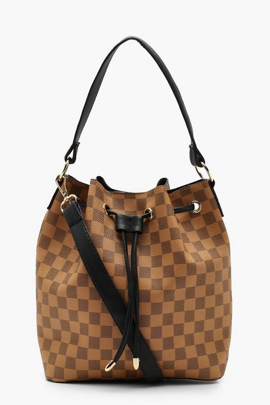 Womens Brown Check Duffle Day Bag
