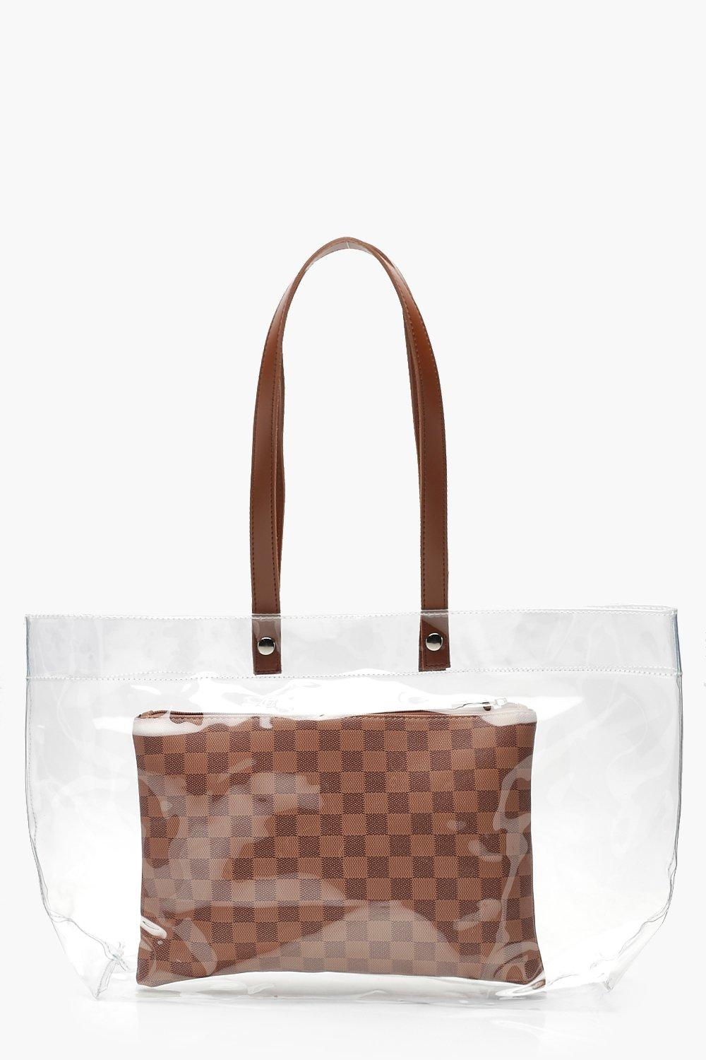 Perspex Bag With Inner Check Clutch