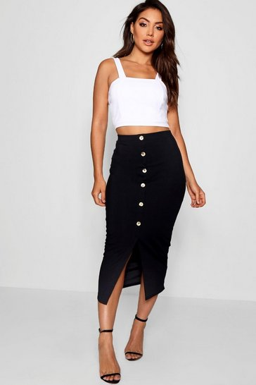 Womens Black Ribbed Mock Horn Button Through Midaxi Skirt