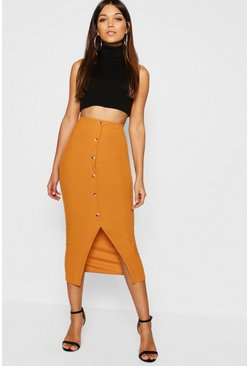 Mustard Ribbed Mock Horn Button Through Midaxi Skirt