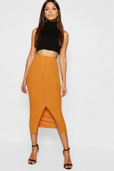 Womens Mustard Ribbed Mock Horn Button Through Midaxi Skirt