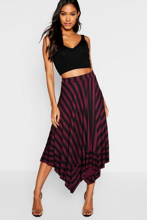 Contrast Stripe Full Midi Skirt