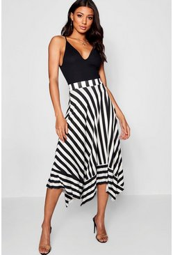 Womens Black Contrast Stripe Full Midi Skirt