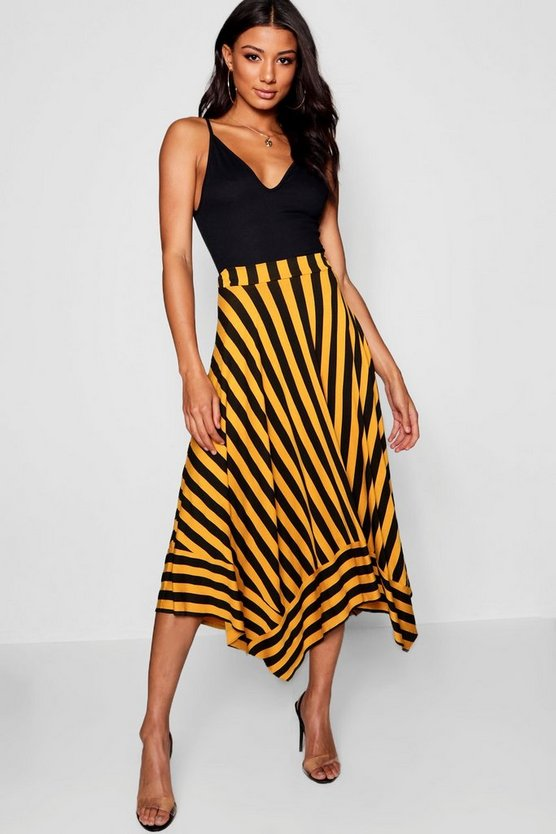 Womens Mustard Contrast Stripe Full Midi Skirt