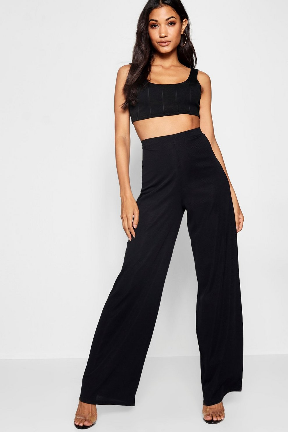6cda28845ecfc Ribbed Wide Leg Trousers | Boohoo