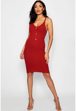 Womens Rust Rib Knit Button Front Midi Dress