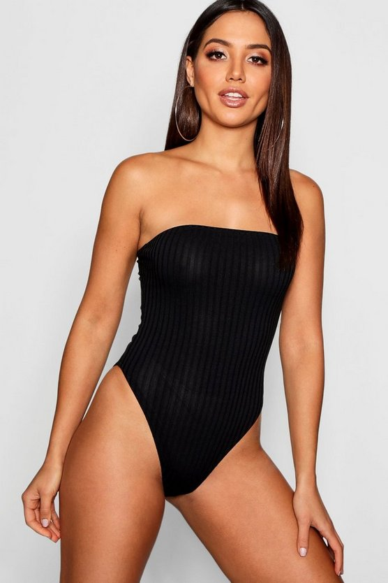 Womens Black Rib Knit Bandeau Bodysuit