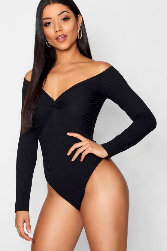 Womens Black Twist Front Off The Shoulder Rib Bodysuit