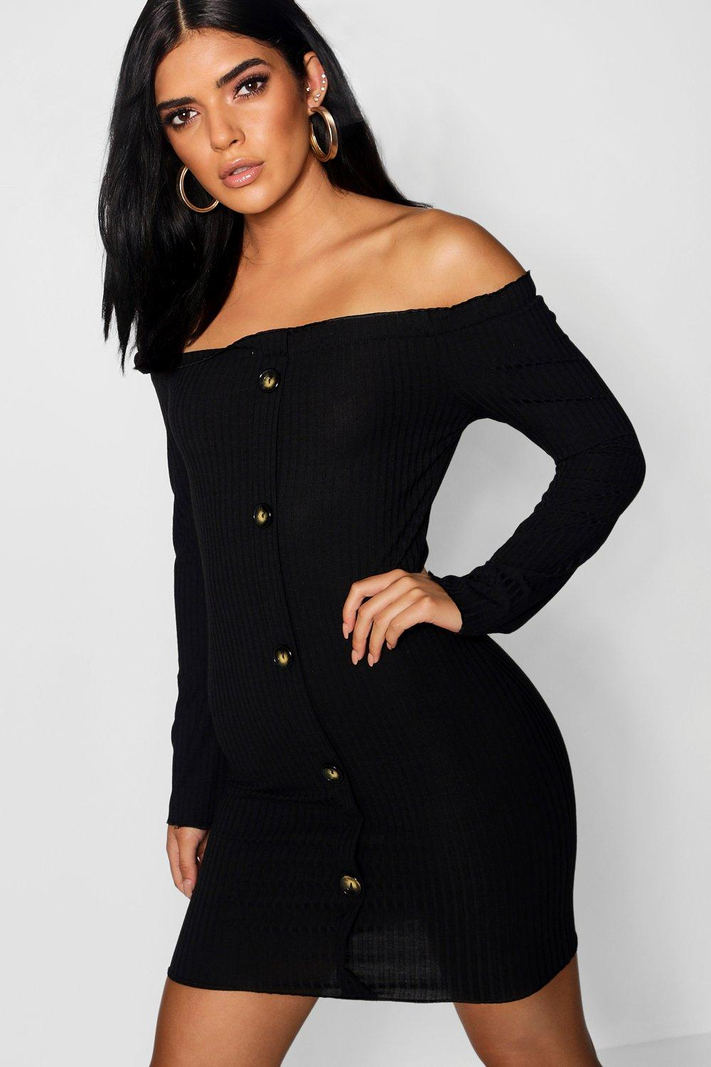 6d377c4ee3 Horn Button Off The Shoulder Rib Dress. Hover to zoom