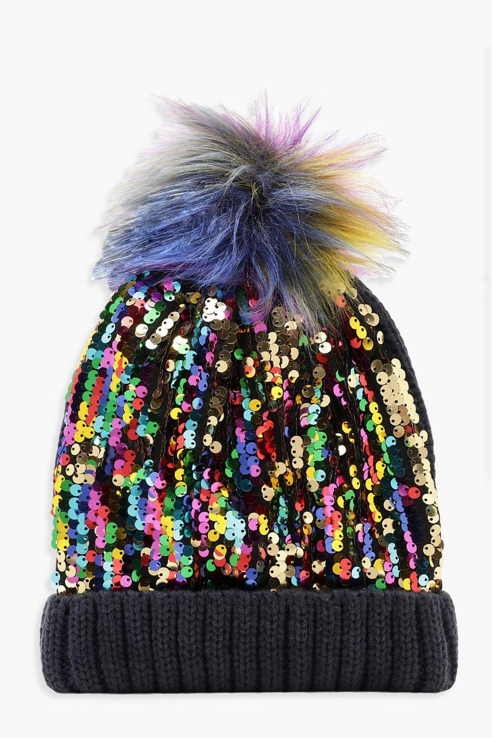 2cab2e36028eef Rainbow Sequin Beanie With Faux Fur Pom | Boohoo