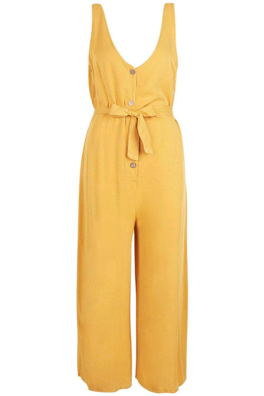 culotte con de botones y vuelo cuerno Mono mostaza estilo 15nUAqw6xg