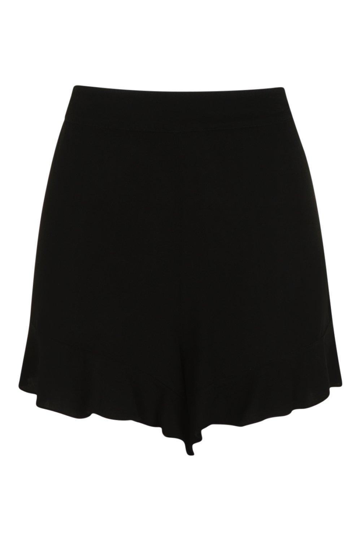 cortos tejidos Pantalones bajo negro ondulados con volante SqFxw86g