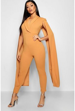 Womens Mustard Cape Lepel Collar Jumpsuit