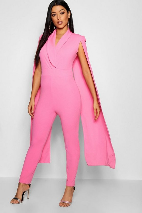Womens Pink Cape Lepel Collar Jumpsuit