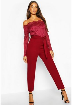 Womens Berry Off The Shoulder Lace 2 In 1 Jumpsuit