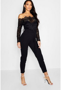 Black Off The Shoulder Lace 2 In 1 Jumpsuit