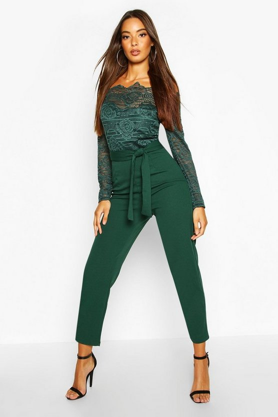 Womens Green Off The Shoulder Lace 2 In 1 Jumpsuit