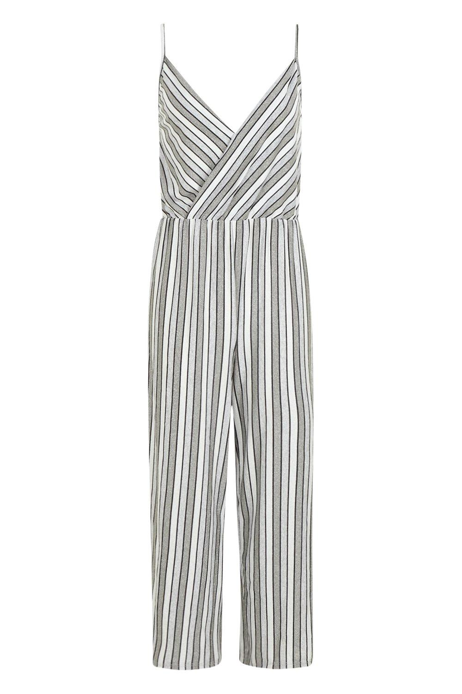 rayas cruzado metálicas estilo Mono plateado culottes a EwqIqxz8