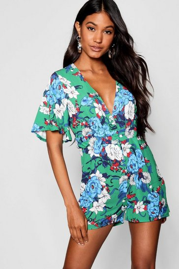 Womens Green Floral Button Through Tea Playsuit