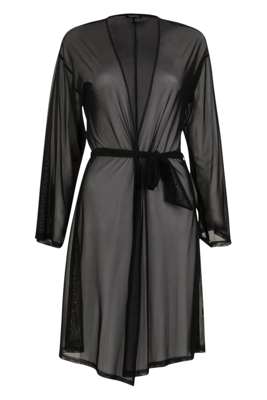 negro cinturón malla de Kimono con AgwB8Pnxq