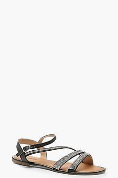 Asymmetric Embellished Sandals