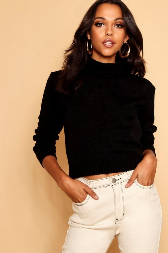 Womens Black Roll Neck Crop Sweater